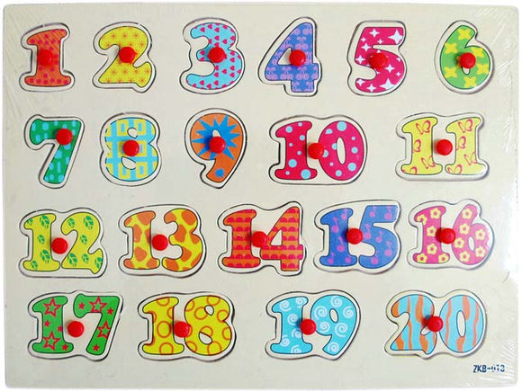 Wooden Puzzle w-handle - Number 1-20