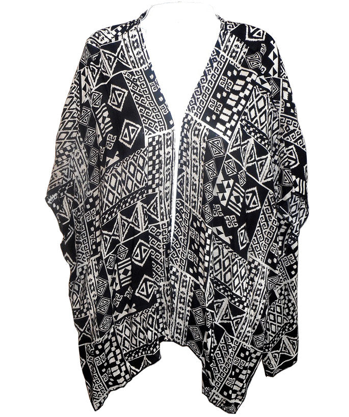Black and White Aztec Print Cardigan