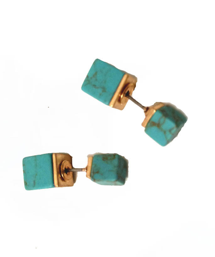 Double Sided Turquoise Stone Earrings