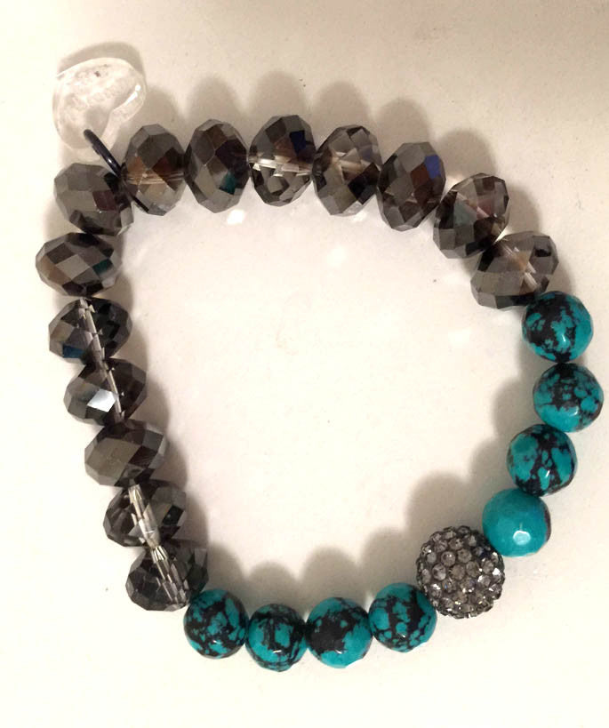 Jade and Smoke Crystal Bracelet