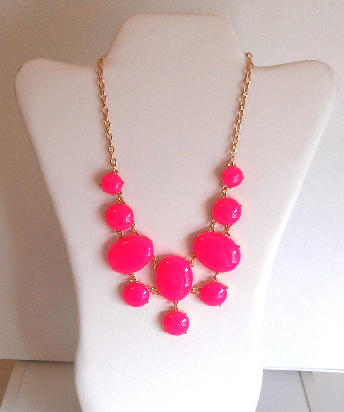 Hot Pink Drop Necklace