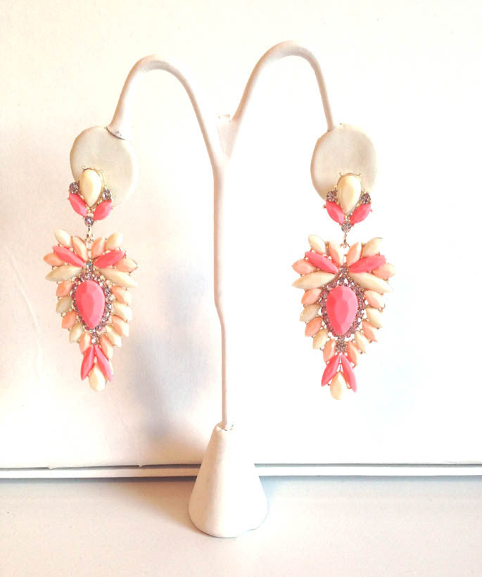 Pink and Ivory Statement Earrings