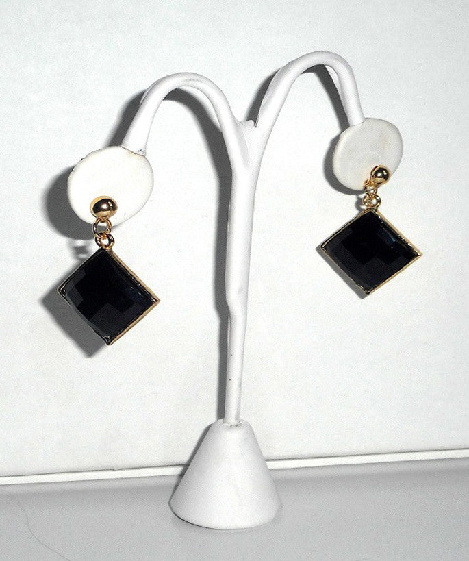 Black Square Jewel Earrings