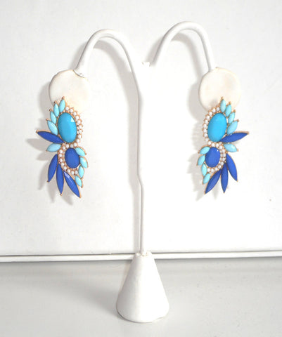 Cobalt Blue & Turquoise Statement Earrings