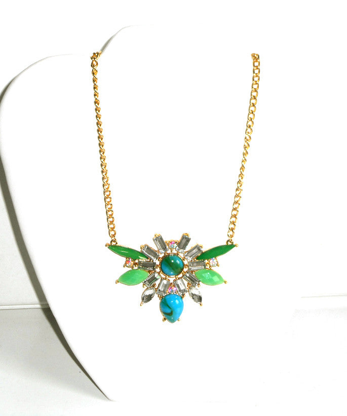 Green and Turquoise Statement Necklace Set