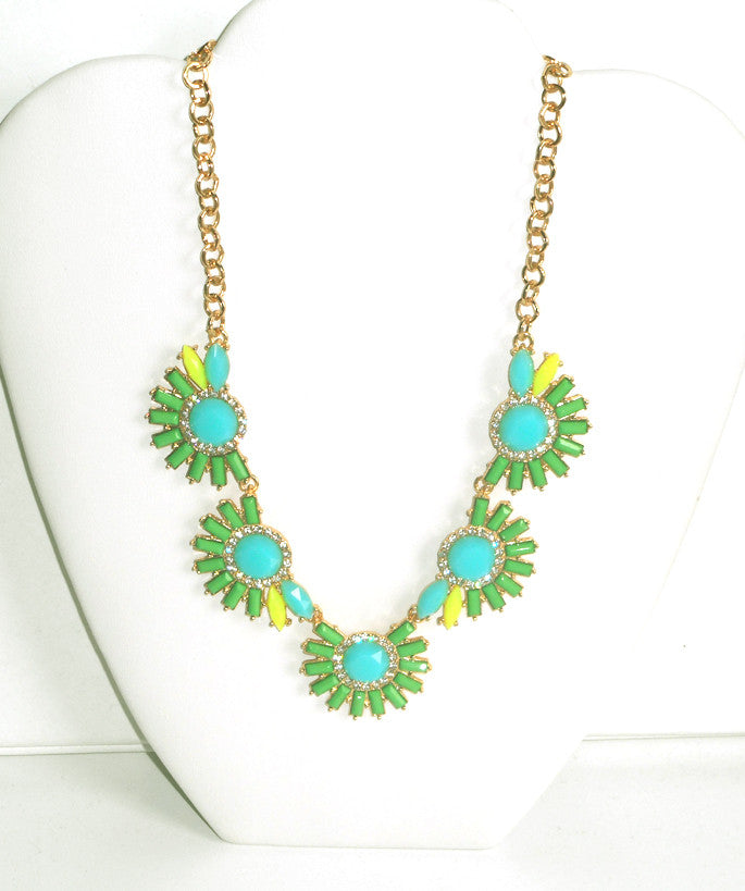 Half Sun Green with Turquoise Accent Necklace