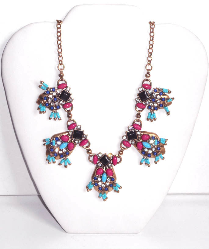 Multicolor Jewel Aztec Necklace
