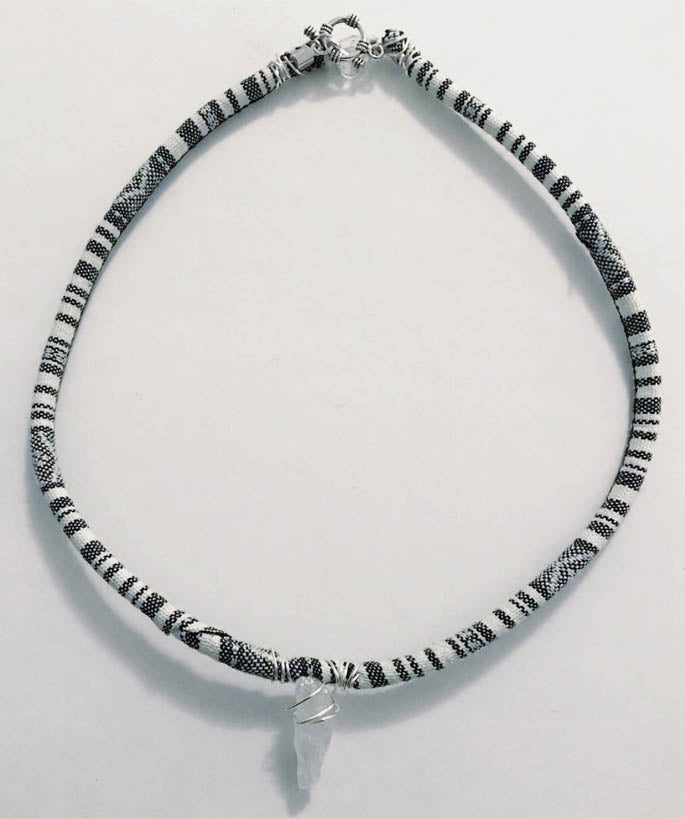 Black and White Opalescent Quartz Pendant Necklace