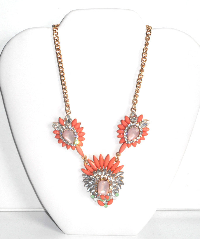 Peach and Pink Statement Necklace