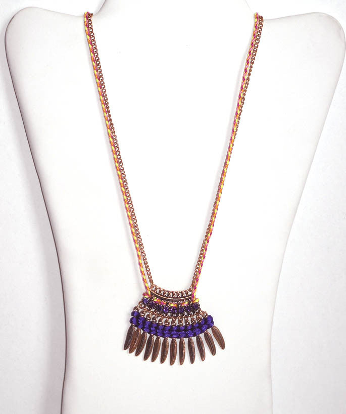 Brushed Gold Feather Pendant Necklace Set