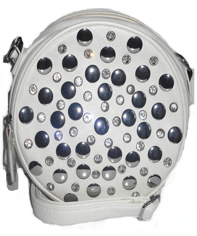 White Rhinestone Messenger Bag