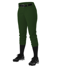 Alleson Fastpitch Dark Green Pants with Belt Loops