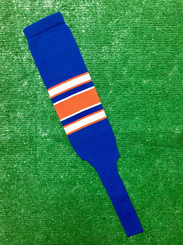 "Baseball Stirrups 8"" Royal Blue with White and Orange Stripes with Trim"