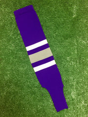 "Baseball Stirrups 4"" Purple with Thin White Thick Gray Thin White Stripes"