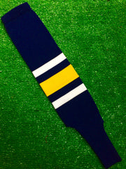"Baseball Stirrups 5"" Navy with Thin White Thick Gold Thin White Stripes"