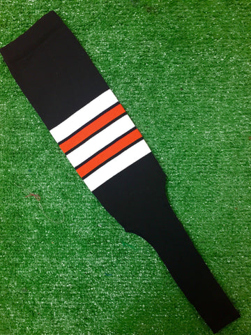 "Baseball Stirrups 8"" Black with White Orange and Black Stripes"