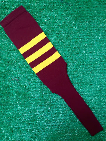 "Baseball Stirrups 8"" Cardinal with Three Gold Stripes"