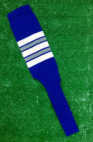 "Baseball Stirrups 8"" Royal Blue with Gray White and Royal Stripes"