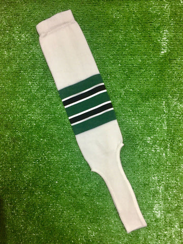 "Baseball Stirrups 6"" White with Dark Green, Black and White Stripes"