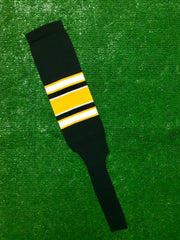 "Baseball Stirrups 8"" Black with White and Gold Stripes with Trim"