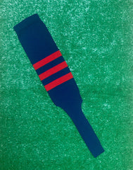 "Baseball Stirrups 8"" Navy Blue with Three Red Stripes"