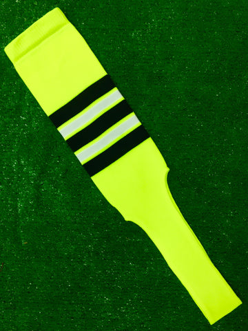 "Baseball Stirrups 8"" Neon Yellow with Black White and Neon Yellow Stripes"