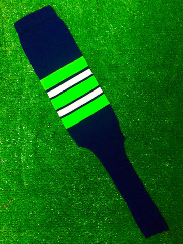 "Baseball Stirrups 8"" Navy Blue with Neon Green White and Navy Stripes"