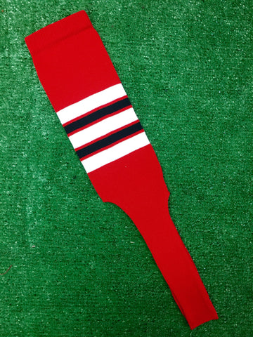 "Baseball Stirrups 8"" Red (Scarlet) with White Black and Red Stripes"