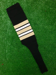 "Baseball Stirrups 6"" or 8"" Black with Vegas Gold White and Black Stripes"