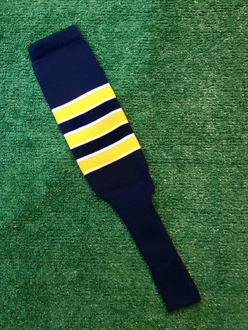 "Baseball Stirrups 8"" Navy Blue with Gold Stripes Trimmed with White"