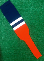 "Baseball Stirrups 8"" Navy with Two White Stripes Orange Bottom"
