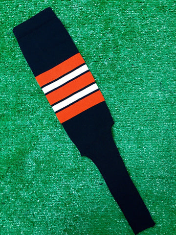 "Baseball Stirrups 8"" Black with Orange White and Black Stripes"