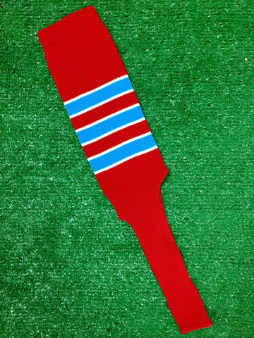 "Baseball Stirrups 4"", 6"" or 8"" Red with Columbia Blue Stripes Trimmed with White"