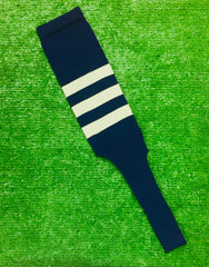"Baseball Stirrups 8"" Navy with Three Gray Stripes"
