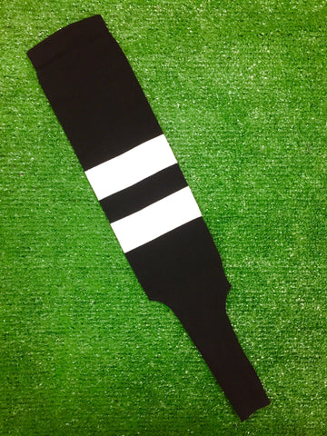 "Baseball Stirrups 6"" Black with Two White Thick Stripes"