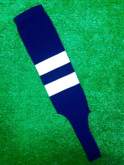 "Baseball Stirrups 6"" Navy Blue with Two White Thick Stripes"