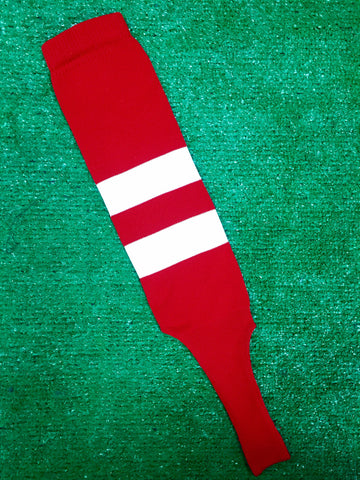 "Baseball Stirrups 6"" Red (Scarlet) with Two White Thick Stripes"