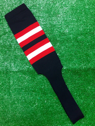 "Baseball Stirrups 8"" Black with Red and White Stripes"