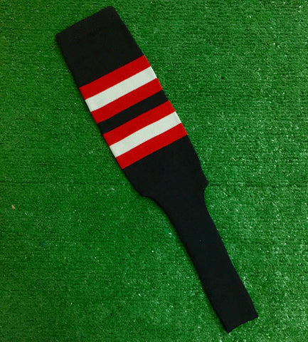 "Baseball Stirrups 8"" Black with Red and Gray Stripes"