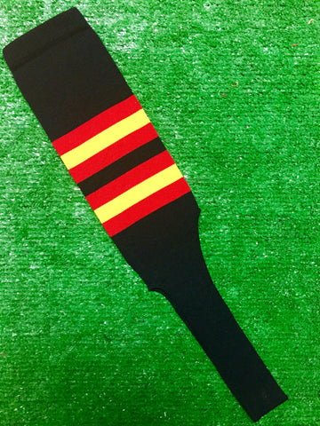 "Baseball Stirrups 8"" Black with Red and Gold Stripes"