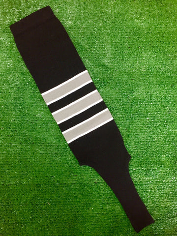 "Baseball Stirrups 6"" Black with Gray Stripes Trimmed with White"