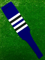 "Baseball Stirrups 6"" or 8"" Royal Blue with White and Black Stripes"