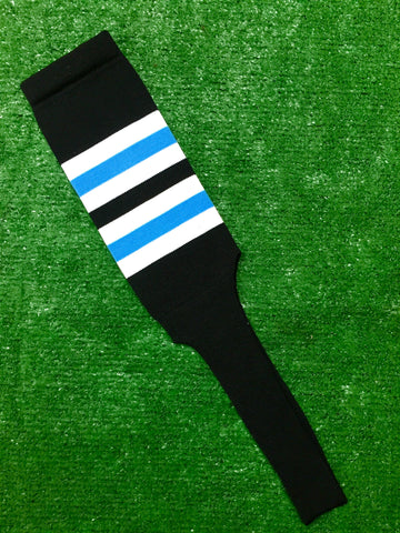 "Baseball Stirrups 8"" Black with White and Columbia Blue Stripes"