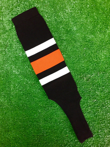 "Baseball Stirrups 8"" Black with Thin White Thick Orange Thin White Stripes"