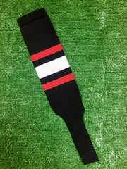 "Baseball Stirrups 6"" Black with Thin Red Thick White Thin Red Stripes"