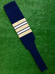 "Baseball Stirrups 9"" Navy Blue with Vegas Gold, White and Navy Stripes"