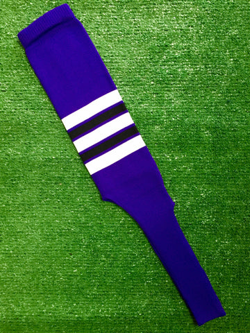 "Baseball Stirrups 9"" Purple with White, Black and Purple Stripes"