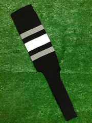 "Baseball Stirrups 8"" Black with Thin Gray Thick White Thin Gray Stripes"