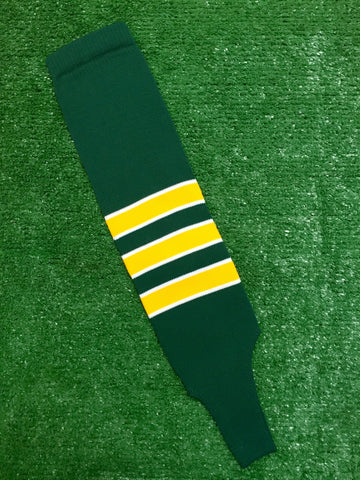 "Baseball Stirrups 4"", 6"" or 8"" Dark Green with Gold Stripes Trimmed with White"