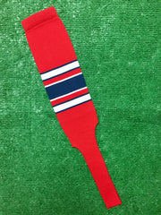 "Baseball Stirrups 8"" Red (Scarlet) with White and Navy Blue Stripes with Trim"